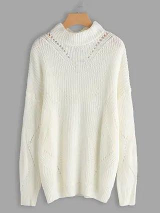WOMEN White Hollow Out Long Sleeves Fashion Sweater