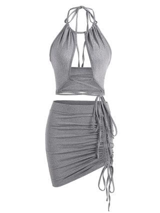 WOMEN Halter Lace-up Marled Cinched Ruched Two Piece Dress - Gray L