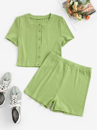 WOMEN Ribbed Button Front Slim Two Piece Shorts Set - Green L