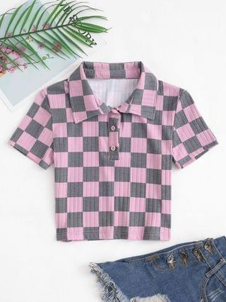 WOMEN Collared Checkerboard Print Button Placket Baby Tee - Light Pink S