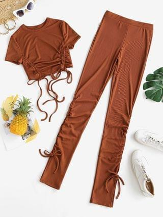 WOMEN Ribbed Cinched Slit Skinny Pants Set - Coffee S