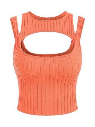 WOMEN Cropped Cut Out Ribbed Knit Sweater Vest - Orange