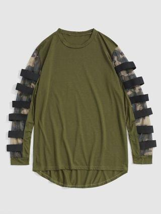 MEN Camouflage Mesh Insert High Low T-shirt - Army Green L