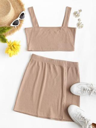 WOMEN Ribbed Crop Top And Front Slit Skirt Co Ord Set - Light Coffee Xl