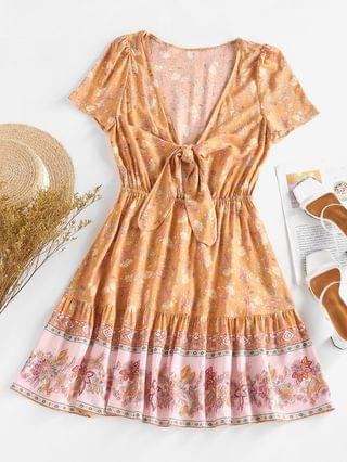 WOMEN Knotted Floral Printed Mini Day Dress - Deep Yellow Xl