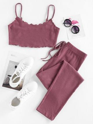 WOMEN Lounge Knitted Bowknot Lettuce Trim Pants Set - Concord S