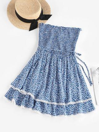 WOMEN Ditsy Floral Smocked Layered Tube Dress - Blue S