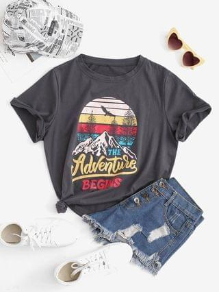 WOMEN Funny THE ADVENTURE BEGINS Graphic T-shirt - Gray M
