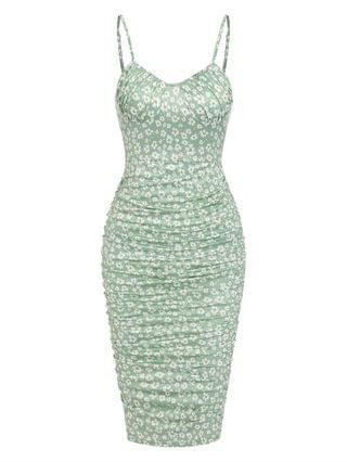 WOMEN Ditsy Floral Ruched Bodycon Cami Dress - Light Green Xl