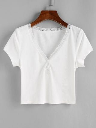 WOMEN Ribbed Lace Insert Buttons Crop T Shirt - White L