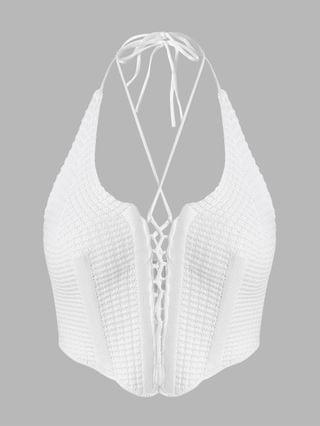 WOMEN Halter Lace Up Corset-style Knitted Top - White L