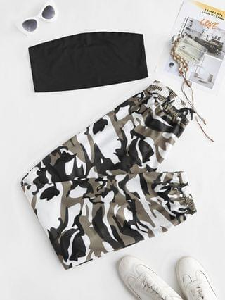WOMEN Tube Top And Camouflage Two Piece Pants Set - Black S