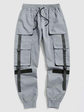 MEN Contrasting Patched Cargo Pants - Light Gray S