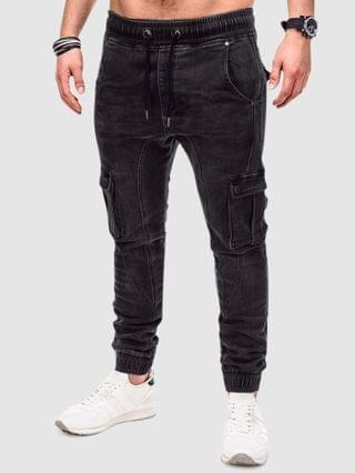 MEN Solid Color Patched Twisted Cargo Jeans - Black Xs