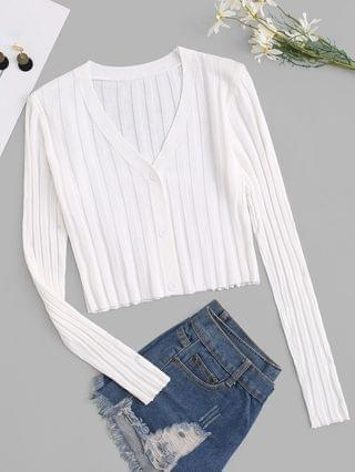 WOMEN Button Up Ribbed Cropped Cardigan - White