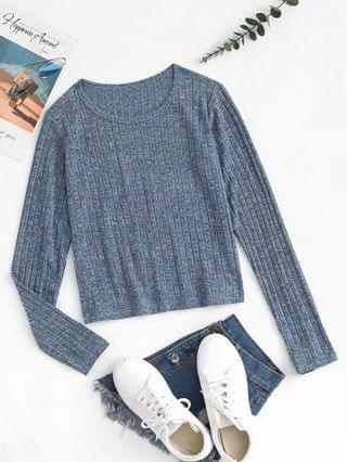 WOMEN Ribbed Heathered Pullover Knitwear - Gray M