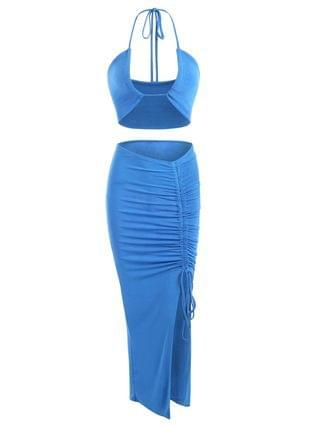 WOMEN Halter Jersey Cinched Ruched Two Piece Dress - Blue L