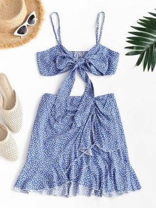 WOMEN Tiny Floral Print Knotted Cami Top And Cinched Mini Skirt - Blue S