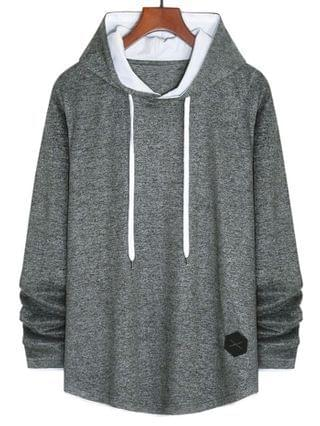 MEN Applique Detail Heathered Faux Twinset Hoodie - Gray Xl