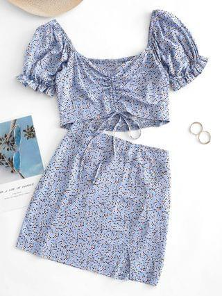 WOMEN Ditsy Print Cinched Ruched Shirred Back Two Piece Dress - Multi S