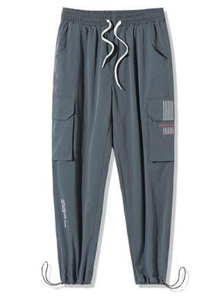 MEN Graphic Embroidered Text Print Cargo Pants - Blue Gray Xl