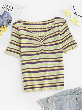 WOMEN Lettuce-trim Colorful Striped Fitted Knit Top - Green