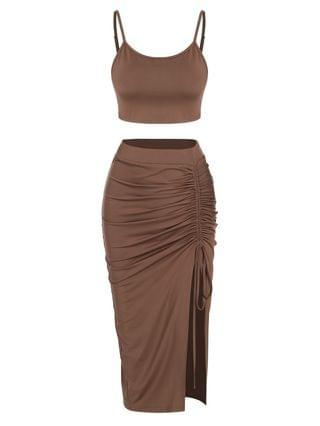 WOMEN Cinched Split Ruched Two Piece Skirt Set - Deep Coffee Xl