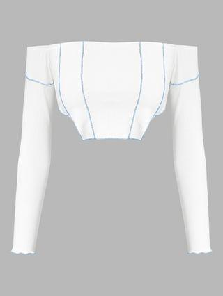 WOMEN Ribbed Off Shoulder Topstitching T Shirt - White S