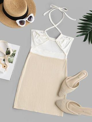 WOMEN Ribbed Cut Out Two Tone Slinky Dress - Light Yellow M