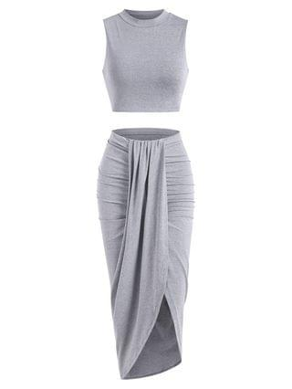 WOMEN Marled Crop Top And Draped Ruched Maxi Skirt Set - Gray Xl