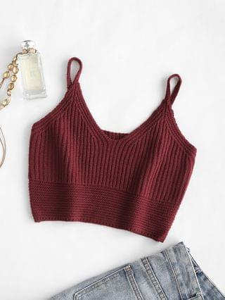WOMEN Cropped Sweater Knit Tank Top - Deep Red S