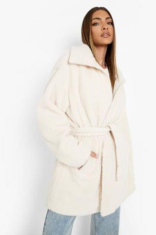WOMEN Quilted Teddy Belted Coat