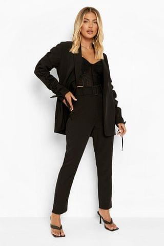 WOMEN Self Fabric Belted Tailored Trousers