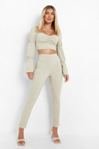 WOMEN Puff Sleeve Crop And Slim Fit Trousers