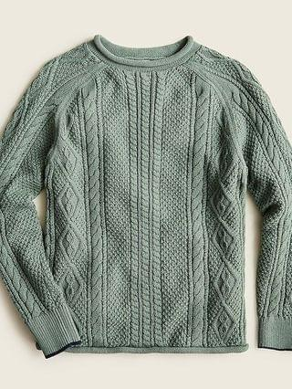 KIDS Boys' cotton cable-knit rollneck sweater