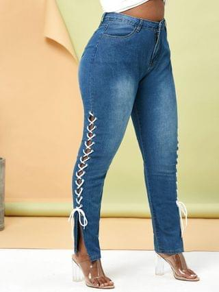 WOMEN Plus Size Contrast Lace Up Side Tapered Jeans