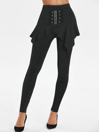 WOMEN High Rise Buckled Skirted Pants