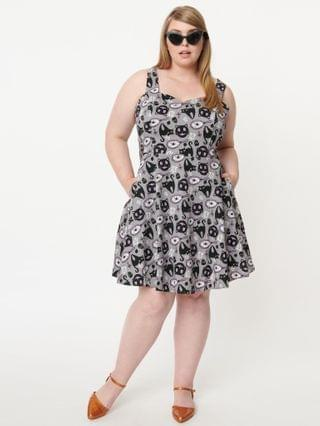 WOMEN Plus Size Grey & Black Cat Lucky Friday Fit & Flare Dress