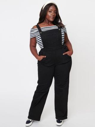 WOMEN Hell Bunny Plus Size Black Denim Ellie May Overalls