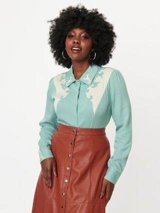 WOMEN Collectif Sage Green Western Dolly Shirt