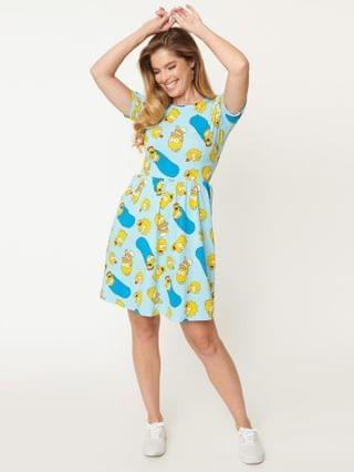 WOMEN Cakeworthy Simpsons Family Toss Fit & Flare Dress