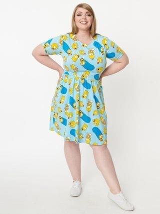 WOMEN Cakeworthy Plus Size Simpsons Family Toss Fit & Flare Dress