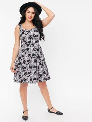 WOMEN Grey & Black Cat Lucky Friday Fit & Flare Dress