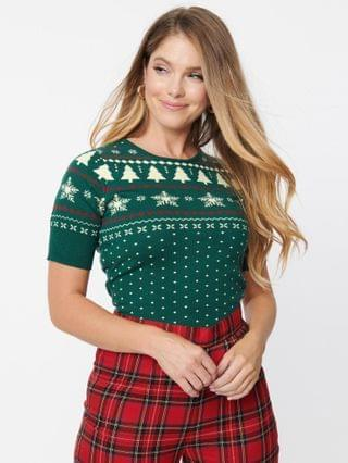 WOMEN Hell Bunny Green Trees & Snowflake Sweater