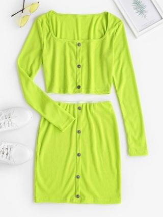 WOMEN Cropped Ribbed Button Front Top And Skirt Set - Green M
