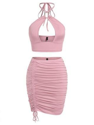 WOMEN Cutout Halter Crop Top And Cinched Skirt Co Ord Set - Light Pink L