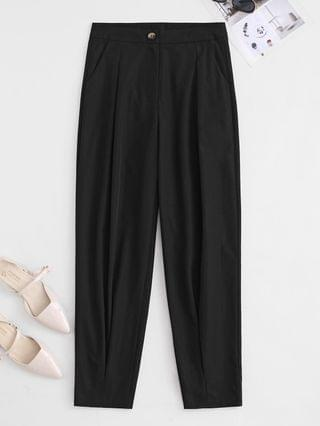 WOMEN High Waisted Pocket Pleated Tapered Pants - Black S