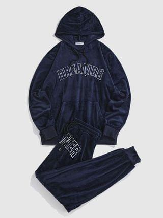 MEN DREAMER Embroidered Velour Hoodie And Jogger Pants Set - Deep Blue L