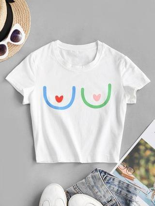 WOMEN Funny Breast Graphic Baby Tee - White S