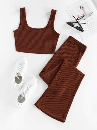 WOMEN Ribbed Knit Two Piece Flare Pants Set - Deep Coffee M